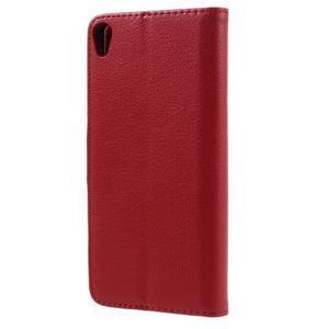 Leathy PU kožené puzdro na Sony Xperia E5 - červené - 2