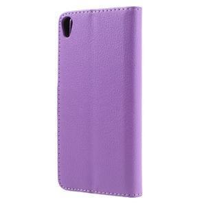 Leathy PU kožené puzdro pre Sony Xperia E5 - fialové - 2