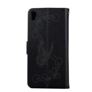 motýľikové PU kožené puzdro pre mobil Sony Xperia E5 - čierne - 2
