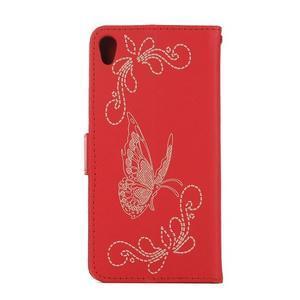 motýľikové PU kožené puzdro pre mobil Sony Xperia E5 - červené - 2