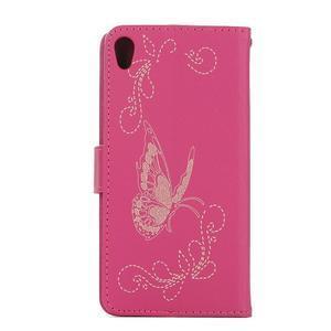 Motýlikové PU kožené puzdro na mobil Sony Xperia E5 - rose - 2