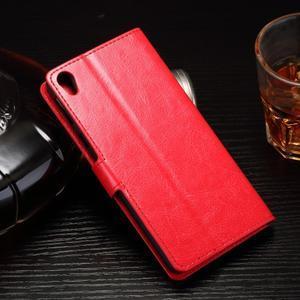 Horss PU kožené puzdro na Sony Xperia E5 - červené - 2