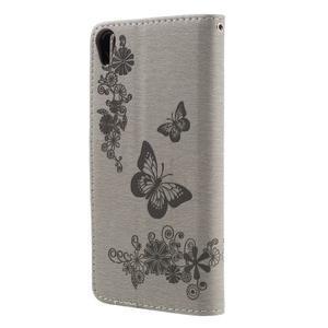 Butterfly PU kožené puzdro na Sony Xperia E5 - šedé - 2