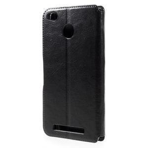 Horn PU kožené puzdro na Xiaomi Redmi 3 Pro - čierne - 2