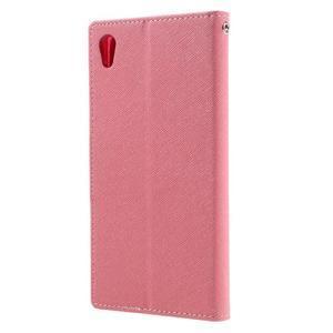 Diary PU kožené puzdro pre mobil Sony Xperia XA Ultra - ružové - 2
