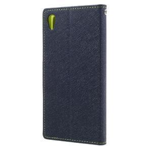 Diary PU kožené puzdro pre mobil Sony Xperia XA Ultra - tmavomodré - 2
