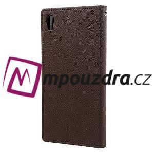 Diary PU kožené puzdro pre mobil Sony Xperia XA Ultra - hnedé - 2