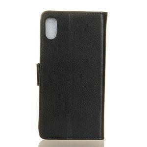 Litchi PU kožené peněženkové puzdro na Sony Xperia L3 - čierne - 2