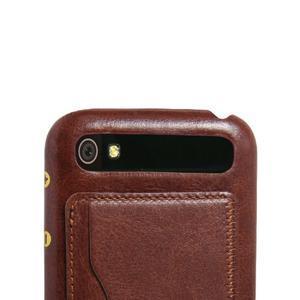 PU kožený kryt se stojánkem na BlackBerry Classic - hnědé - 2