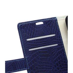 Croco style peňaženkové puzdro pre BlackBerry Leap - tmavomodré - 2