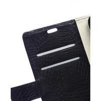 Croco style peněženkové pouzdro na BlackBerry Leap - černé - 2/7