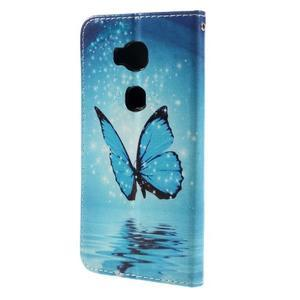 PU kožené pouzdro na mobil Honor 5X - motýl - 2