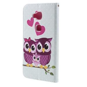 PU kožené puzdro pre mobil Honor 5X - soví rodinka - 2