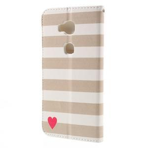PU kožené puzdro pre mobil Honor 5X - srdca - 2