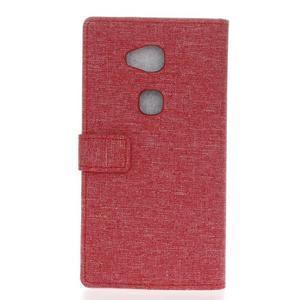 Textilné/koženkové puzdro pre Honor 5X - červené - 2