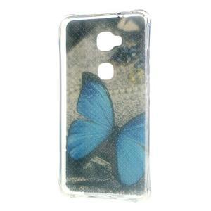 Drop gelový obal na Huawei Honor 5X - modrý motýl - 2