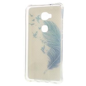 Drop gelový obal na Huawei Honor 5X - modré peříčko - 2