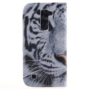 Peněženkové pouzdro na mobil LG K10 - bílý tygr - 2