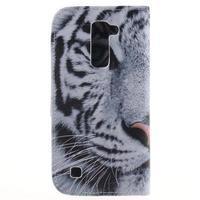 Peňaženkové puzdro pre mobil LG K10 - biely tygr - 2/7