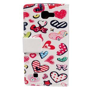 Style peňaženkové puzdro pre LG K4 - koláž srdiečok - 2