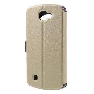 Trend puzdro s okienkom na mobil LG K4 - zlaté - 2