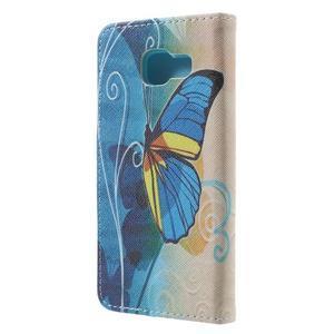 Peňaženkové puzdro na mobil Samsung Galaxy A3 (2016) - modrý motýl - 2
