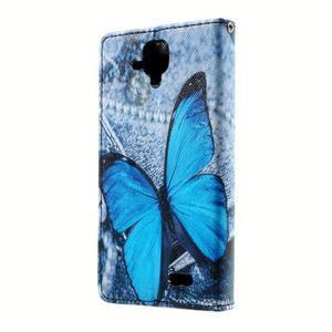 Peňaženkové puzdro na mobil Lenovo A536 - modrý motýl - 2