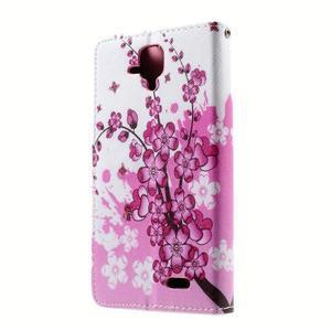 Peňaženkové puzdro na mobil Lenovo A536 - kvetoucí větvička - 2