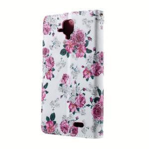 Peňaženkové puzdro na mobil Lenovo A536 - květiny - 2
