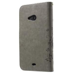 Butterfly peňaženkové puzdro na Microsoft Lumia 535 - šedé - 2