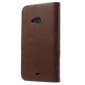 Butterfly peňaženkové puzdro na Microsoft Lumia 535 - hnedé - 2