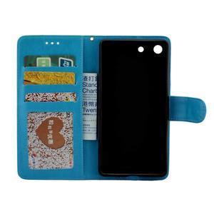 Horse PU kožené pouzdro na Sony Xperia M5 - modré - 2