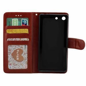 Horse PU kožené puzdro pre Sony Xperia M5 - hnedé - 2
