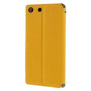 Diary puzdro s okienkom na Sony Xperia M5 - žlté - 2