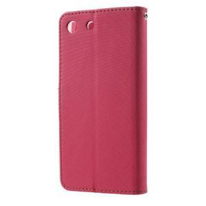 Wall PU kožené puzdro pre mobil Sony Xperia M5 - rose - 2