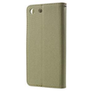 Wall PU kožené puzdro pre mobil Sony Xperia M5 - khaki - 2