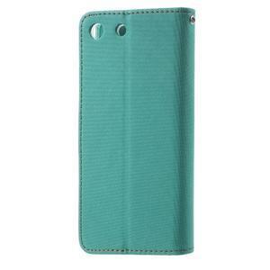 Wall PU kožené puzdro pre mobil Sony Xperia M5 - zelenomodré - 2