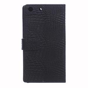 Peňaženkové puzdro s textúrou krokodílej kože na Sony Xperia M5 - čierne - 2