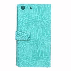 Peněženkové pouzdro s texturou krokodýlí kůže na Sony Xperia M5 - cyan - 2