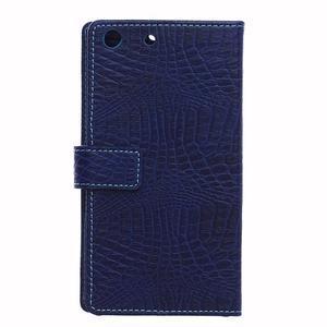 Peňaženkové puzdro s textúrou krokodílej kože na Sony Xperia M5 - tmavomodré - 2