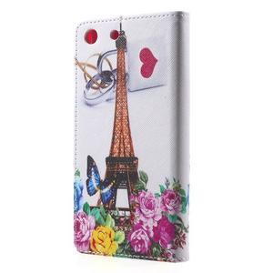 Stand Peňaženkové puzdro pre Sony Xperia M5 - ruže s Eiffelovou vežaí - 2