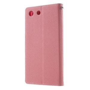 Goos PU kožené penženkové pouzdro na Sony Xperia M5 - růžové - 2