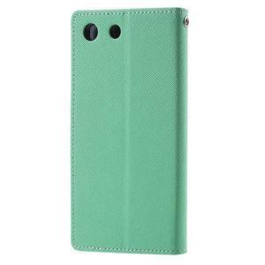 Goos PU kožené peňaženkové puzdro pre Sony Xperia M5 - cyan - 2