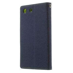 Goos PU kožené penženkové pouzdro na Sony Xperia M5 - tmavěmodré - 2