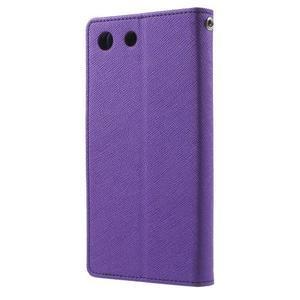 Goos PU kožené peňaženkové puzdro pre Sony Xperia M5 - fialové - 2