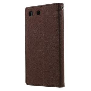 Goos PU kožené peňaženkové puzdro pre Sony Xperia M5 - hnedé - 2