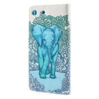 Crafty Peňaženkové puzdro pre Sony Xperia M5 - modrý slon - 2/7