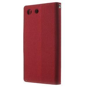 Canvas PU kožené / textilné puzdro pre Sony Xperia M5 - červené - 2