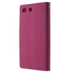 Canvas PU kožené / textilné puzdro pre Sony Xperia M5 - rose - 2