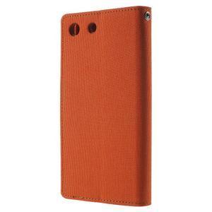 Canvas PU kožené / textilní pouzdro na Sony Xperia M5 - oranžové - 2